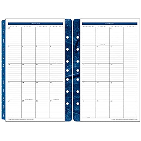 FranklinCovey Monarch Original Two Page Monthly Ring-Bound Tabs Jan 2021 Dec 2021