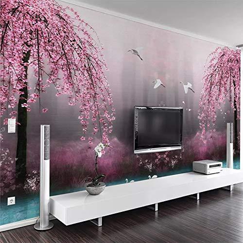 Abihua Papier Peint Muraux Personnalisés 3D Rose Cerisier En Fleurs Lac Paysage Photo Mur Papiers Salon Tv Canapé Chambre Fond Mur 400Cm X 250Cm