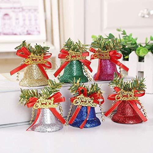 MXJFYY Campanas de Navidad 6 Piezas de Adornos de Campana Colgante de Colores con Lazos para Decoración de Interior y Exterior de Fiesta de Navidad de Árbol de Navidad (Pequeño)