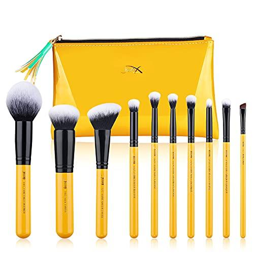 Jessup Pinceles de maquillaje Set de brochas para el rostro con base en polvo Kits cosm¨¦ticos de cabello sint¨¦tico 10 piezas (T276)