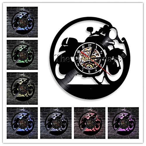 szhao Reloj de Pared Cafe Racer, Reloj de Pared con Registro de Vinilo clásico para Motocicleta, Reloj de Pared para Motocicleta, decoración artística, Regalo de Motociclista Racer Riders