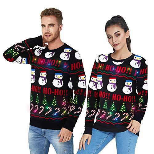 UNIFACO Unisex LED rozświetla brzydki świąteczny sweter śmieszne świąteczne swetry dla mężczyzn kobiet 3D sweter dzianinowe swetry S-XXL