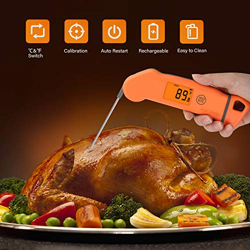 Product Image 1: Inkbird Meat Thermometer IHT-1S, Instant Read Meat Thermometer Waterproof Digital Cooking Thermometer, Food Candy Thermometer for Kitchen, Food Cooking, Grill, BBQ, Smoker, Home Brewing, Coffee