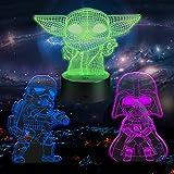 Huanchenda Star Wars 3D Ilusión Lámpara, 3 Patrones 16 Colores Cambian Luz Nocturna Lámpara de Noche para Decoración de Dormitorio
