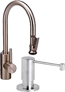 Waterstone 5800-2-TB Standard Reach PLP Pull Down Faucet, Tuscan Brass