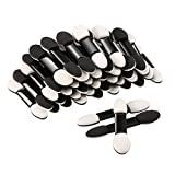 eBoot 100 Pack Disposable Eye Shadow Brush Sponge, Dual Sided Oval Tipped Makeup Applicator Tool (Black and White)