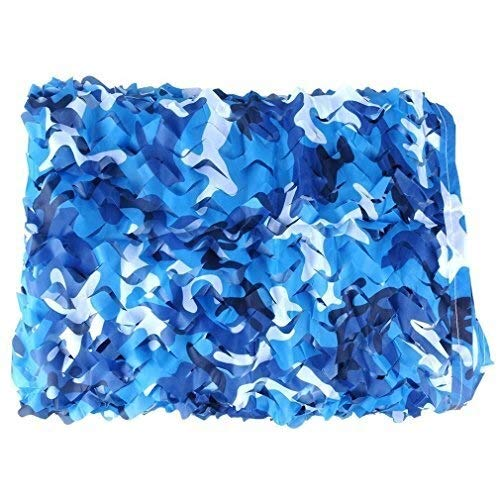 LISI Camuflaje Azul Red de Camuflaje Patio Barandas for Las Cercas Ocultar Decoración Sin Rejilla Militar Acampa Caza Disparo Protección Solar Nets (Size : 5x6M=16.4x19.7ft)