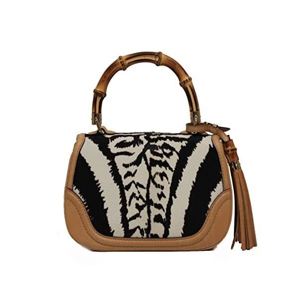 Fashion Shopping Gucci Bamboo Top Handle Pony Hair Handbag 254884, Beige Black