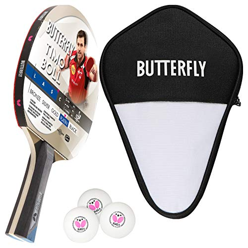Butterfly Timo Boll Platin Tischtennisschläger + Tischtennishülle + 3*** ITTF R40+ Tischtennisbälle | Tischtennisschlägerset | Tischtennis Profi Set