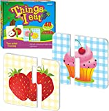 48 Food Matching Puzzles with Error-Correction Mechanism Pre-Primer in 2 Pieces, Perfect for Preschool Learning (24 Blocks Double Sided)