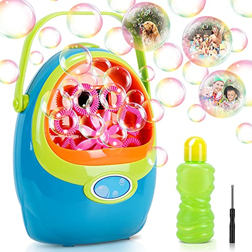 Vimzone Bubble Machine, Automatic Bubble Blower Machine with 1000+ Bubbles Per Minute, Fun Bubbles Blowing Push Toys for Kids, Boys, Girls, Toddlers, Indoor, Outdoor, Party, Birthday Play