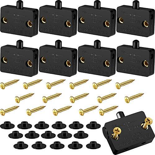 RUNCCI-YUN 8 Piezas Interruptor de Contacto para Puerta de Mueble 1A 250V Iluminación Interruptor Automático para Luz de Gabinete Armario(Negro)