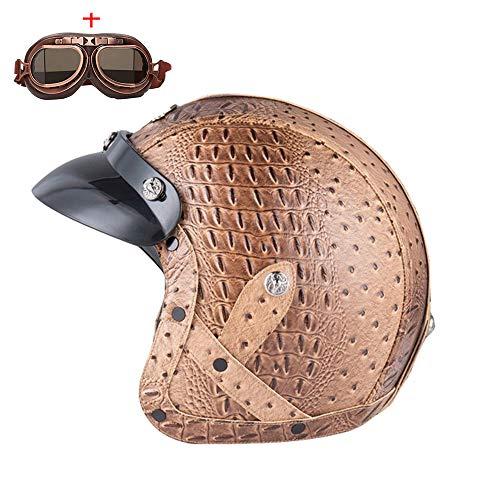 Männer Frauen 3/4 Cruiser Shell Helm Vintage Style halb offenes Gesicht Motorrad...