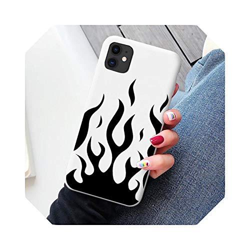 Funda de teléfono con patrón de llama de personalidad artística para iPhone 6s 7 8 Plus X XR XS Max 12 11 Pro Max SE 2020 suave silicona cubierta del teléfono llama-blanco para 6plus 6splus