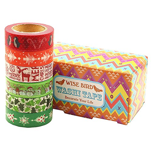 Wise Bird Fun Gift Wrap Decorative Fun Colored Washi Tape Sticky Paper Masking Adhesive DIY Tape, Office Class School Birthday Scrapbook Craft Tape, 32ft/roll, Set of 6 - W01