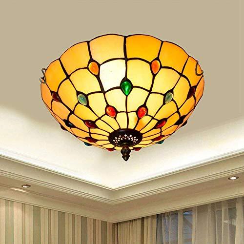 Plafondlamp voor slaapkamer_Tiffany plafondlamp van gekleurd glas balkon foyer slaapkamer plafondlamp 30cm