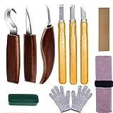 ATNR Kit de herramientas para tallar madera, juego de herramientas para carpintería, guantes resistentes al corte, gancho/detalle, kit de herramientas para cuchillos para principiantes