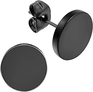 Flongo Men's Women's 3-14mm Round Stainless Steel Black Tunnel illusion Tapers Cheater Faux Fake Stud Earrings