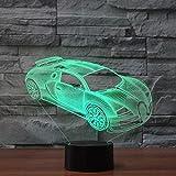Dalovy Festival Lámpara de Ilusión 3D Luz de Noche Led Óptica 7 Colores Bugatti Veyron para Niños Y Adultos Lámpara de Mesa de Coche de Carreras Deportivas Los Mejores Cumpleaños Par