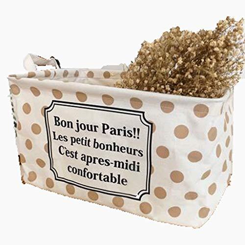 Storage Basket LHY- Caja de almacenamiento de escritorio de tela de lino y algodón, plegable, resistente al agua, para acabados, para guardar ropa (color: A, tamaño: 38 x 26 x 22 cm)