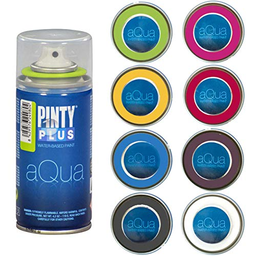 Pintyplus Aqua Spray Paint - Art Set of 8 Water Based 4.2oz Mini Spray Paint Cans. Ultra Matte Finish. Low Odor. Perfect For Arts & Crafts. Craft Paint Set Works on Plastic, Metal, Wood, Cardboard