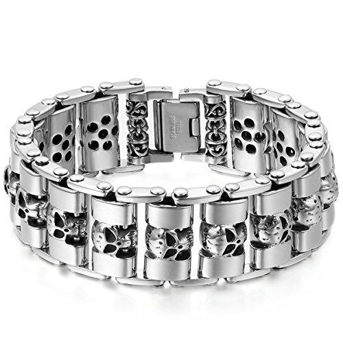 JewelryWe Schmuck Herren Armband, Gross Schwer Breit Totenkopf Schädel Biker Link, Edelstahl, Schwarz Silber
