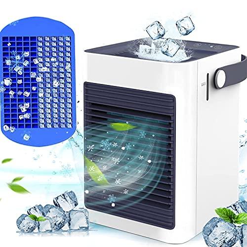 冷風機 2021年 新登場GIMOSE卓上冷風機 冷風扇 小型 強風 コンパクト USB給電式 氷いれ可能 送風 加湿機能 冷却機能 空気清浄機能3段階調整 熱中症と暑さ対策 車中泊 オフィス 寝室 自宅用 日本語取扱説明書