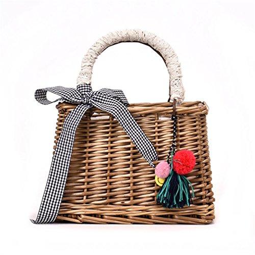 ELEGENCE-Z Vierkante strozak, handgemaakte rotan tas mand tas strand tas vakantie veelzijdige schoudertas