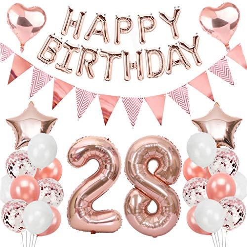 Ouceanwin 28 Cumpleaños Decoraciones Oro Rosa, Globos Numeros Gigante 28, Bandera de Globos Happy Birthday, Globos de Confeti, 28 años Fiesta de Cumpleaños Kit para Niñas y Mujeres