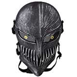 TECH-P Death Skull Face Mask - Protective Mask Gear for Use As Tactical Mask & Airsoft and Outdoor Cs War Game Mask - Scary Ghost Mask for Halloween - Silver Black Cosplay Mask+1 PCS Coaster