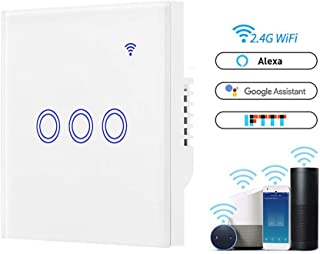 Volwco WiFi Light Switch, White WiFi Smart Touch Switch Compatible with Alexa and Google Home, Sonoff WiFi Switch with Tempered Glass Touch Panel, Control Your Lamps from Anywhere - 3 Gang