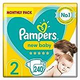 Pampers Couches bébé taille 2, 240 pièces, protection pour peau sensible du nouveau-né (4-8 kg)