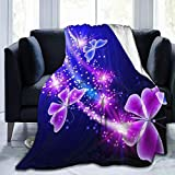 Lovely Purple Butterfly Printed Blanket Throw Lightweight Super Soft Micro Fleece Throw Blankets Fit Couch Bed Living Room Sofa Chair 50'X40'