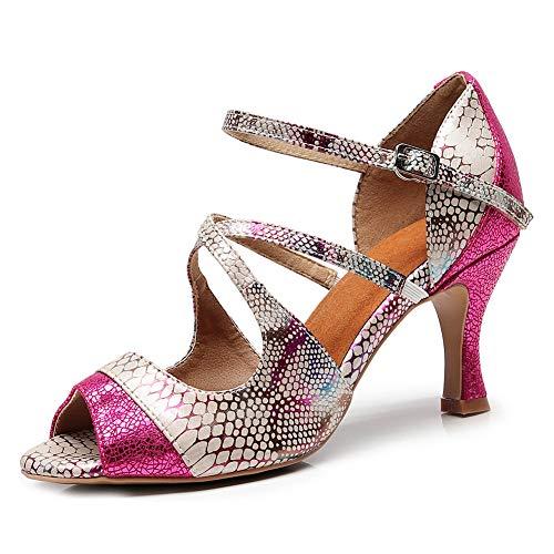 TINRYMX Zapatos de Baile Latino con Estilo para Mujer - Correa Cruzada Salón de Baile Fiesta de Baile Danza Sandalias de tacón Alto,Rosado,EU 37.5