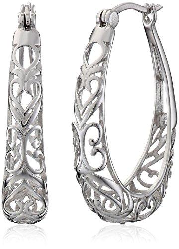 Filigrane Kreolen Sterling-Silber 925,weiß,No Size