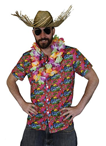 Juego de disfraz de Hawaian para hombre – Camisa Hawaian Hula, multicolor flor LEI + sombrero de playa Luau fiesta playa verano (XL)