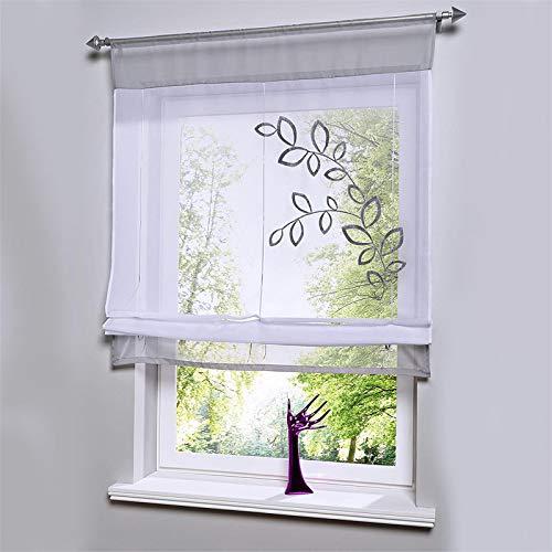 Souarts vouwgordijn, transparant, vitrage, gordijn, lusgordijn, deco voor woonkamer, slaapkamer, studeerkamer