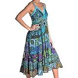 Kleid Trägerkleid Maxikleid Abendkleid Sommerkleid Strandkleid Kleider Ärmellos Ethno Goa Springtime (S/M)