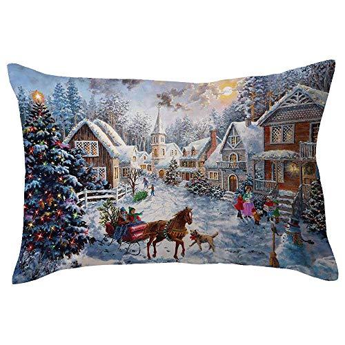 Riou Kissenbezuge Weihnachten Kissenhülle Dekokissen Throw Pillow Covers Für Autos Sofakissen Dekorative Frohe Weihnachten Leinen Sofa Rechteck Kissenbezug Home Dekor 30x50cm