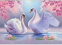 大人のための新しい5Dダイヤモンド絵画キットナンバーキットによるダイヤモンド絵画大人のラウンドドリルアートクラフト壁の装飾湖の2つの白鳥15.7x11.8インチ