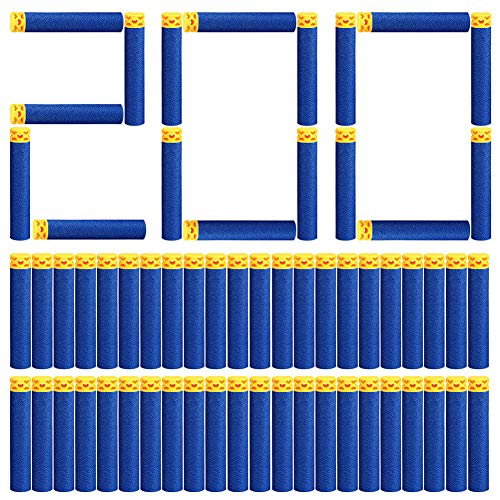 Vidillo 200 Pcs Blue Refill Bullets Foam Darts für Nerf N-Strike,Elite Series Blasters Toy Guns für Zielspiele Sport Outdoor,7,2 cm Soft Refill Darts Foam Bullet