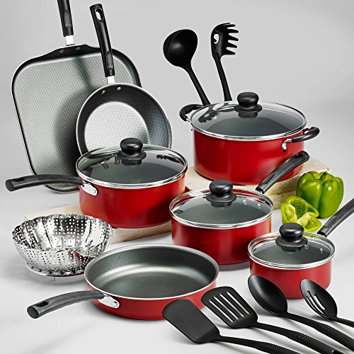 18-Piece Tramontina PrimaWare Nonstick Cookware Set, (Red)