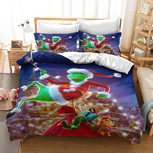 QWAS Ropa de cama con diseño de Monster Marvel Animation 3D, de 3 piezas, tejido de microfibra (3,220 x 240 cm + 50 x 75 cm x 2)