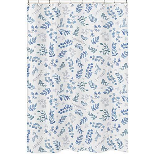 Sweet Jojo Designs Duschvorhang mit floralem Blättermotiv, blau-grau & weiß, Boho-Aquarell, botanische Blumen, Wald, tropischer Garten