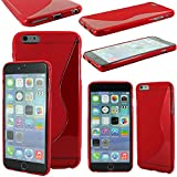 ebestStar - Funda Compatible con iPhone 6 Plus 6S Plus Carcasa Gel Silicona Gel TPU Motivo S-línea, S-Line Case Cover, Rojo [Aparato: 158.1 x 77.8 x 7.1mm, 5.5'']