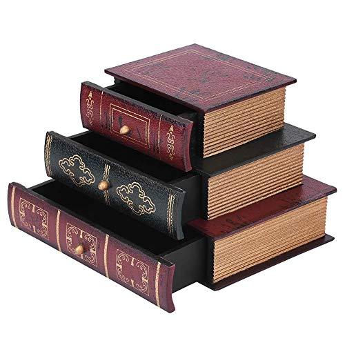 Holzschatulle, Schreibtisch Organizer Holztruhe mit 3 Schubladen, Vintage Buch Form Schmuck Aufbewahrungsbox Handgemachte Organizer Display Aufbewahrungskoffer für Nehmen Fotos/Dekoration