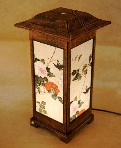 Lampe de chambre en papier de riz à la main traditionnelle coréenne design de peinture traditionnelle Art déco marron Asie orientale table de nuit décoration domestique originale