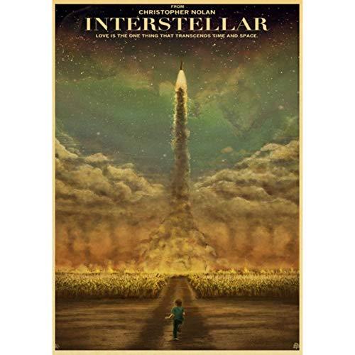dianshangpuzi Classic Movie Interstellar Poster Nolan Mcconaughey Retro Posters and Prints Kraft Paper Home Room Decor Film Wall Sticker V94 50X60Cm