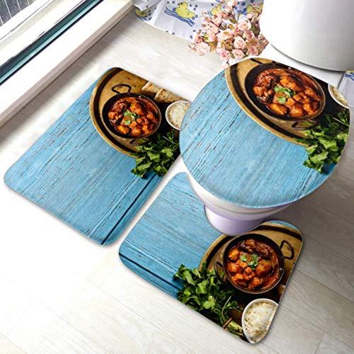XHYYY - Juego de alfombras de baño antideslizantes con diseño de pollo Tikka Masala picante y curry