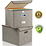 Collapsible File Box with Lid [2-Pack] Decorative Documents Storage Organizer with Linen Filing